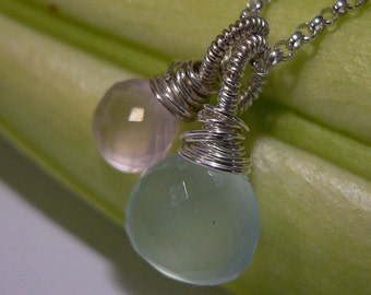 Gemstone Bundle - blue chalcedony, rose quartz, Blue Chalcedony Pendant, Rose Quartz Pendant, Wire Wrapped, Sterling Silver