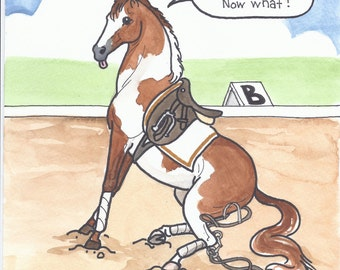 I'm on the Bit Now What HORSE ART Pinto Paint Horse original watercolor painting