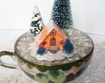 Vintage Putz Style Tiny Miniature Orange Sherbet Glitter Sugar House with Cobalt Blue Trees for Christmas Village or Ornament  for Tree