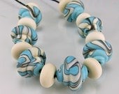 Etched Turquoise Ivory Black Baroque Lampwork Beads Set SRA Glass Beads