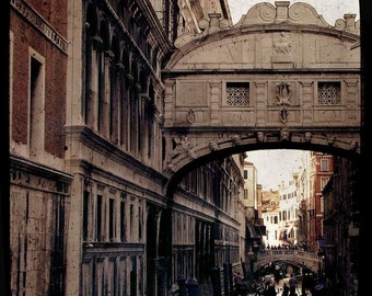 SALE: Bridge of Sighs Venice travel photography atmospheric romantic beige brown stone brick bridge vintage historical landmark classical
