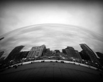 Chicago Bean - Contiur (Cloud Gate black and white photography print urban landmark modern architecture silver liquid mercury art sculpture)