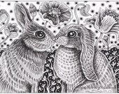 "Rabbit Ink Drawing 23 - an 8 x 10"" ART PRINT of a black & white ink drawing of two sweet rabbits who are in love and in the mood to snuggle"