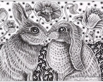 """Rabbit Ink Drawing 23 - an 8 x 10"""" ART PRINT of a black & white ink drawing of two sweet rabbits who are in love and in the mood to snuggle"""