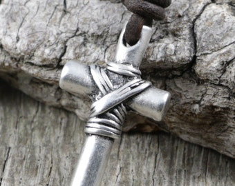 Mens Leather Necklace - Pewter Cross Pendant, Brown Cord - Surfer, Christian, Jesus