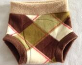 Diaper Cover --- Brown and Cream Diamond Plaid Anti Pill Fleece