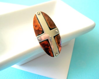Designer Southwestern Sterling and Copper Shield Cross Ring