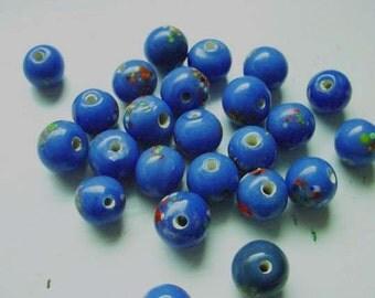 24 Vintage Japanese Glass Beads French Blue Splatter Beads 8mm