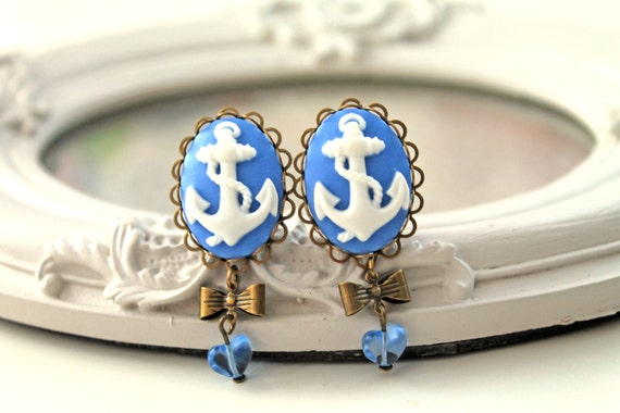 Ship anchor  clip earrings kawaii blue gothic lolita heart
