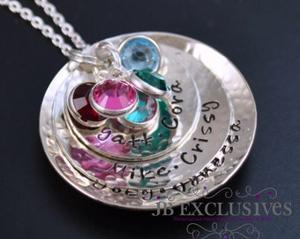 Personalized hand stamped mommy necklace - sterling silver chain - 3 layer baby name discs and birthstones
