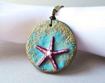 Starfish Pendant Necklace - handmade polymer clay jewelry - red star fish ocean sea beach summer - brass bronze chain turquoise blue coastal