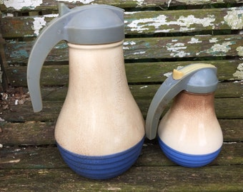 Pair of Vintage Blue and Cream Well Loved Cruets Syrup Pitchers (One Small and One Large)