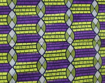 Ankara print, Ethnic fabric, African wax print, Purple and green print fabric, Yardage, Fabric by the Yard, Nichem print, Lined pattern