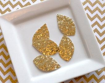 Gold Glitter teardrop leaves YOU CHOOSE amount 1 3/4 inch