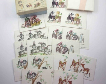 Vintage Pick A Pet Send A Smile Note Cards in Original Box with Cute Animals