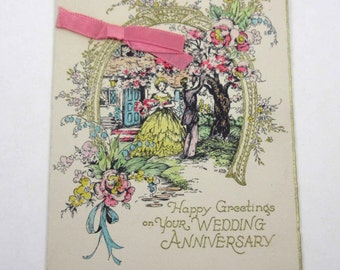 Vintage Art Deco Wedding Anniversary Greeting Card with Gold Embossing House Couple Tree Flowers
