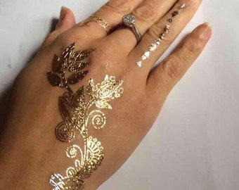 Indian triangle flower seas water beach bracelet tattoo jewelry temporary bling gold lady fun gifts sheet  hand ring beauty