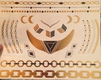 Thick black chain seas water beach bracelet tattoo jewelry temporary bling gold lady fun gifts sheet diamond