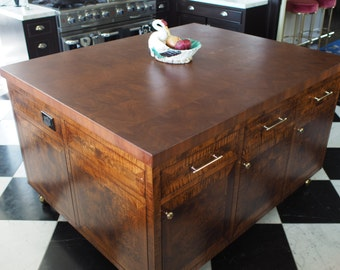 Red Ambrosia Maple Butcher Block Kitchen Island Counter Top
