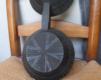 African Antique Double Bowl Wooden Primitive Home Decor Dark Brown Reproduction Ethnic Decor