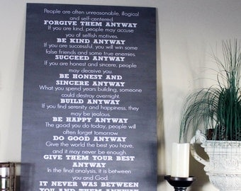 Small 11x18 Do It Anyway Mother Teresa Poem Chalkboard Style Typography Sign Board