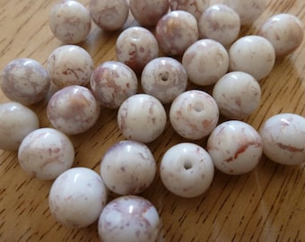 24 Vintage Japanese 10mm Mauve White Marbled Glass Beads C29