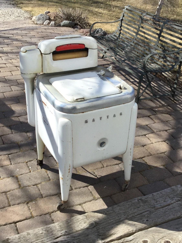 1950 Washing Machine ~ Vintage maytag ringer washing machine s white by