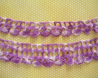 Over 3 Yds Vintage Hand Crochet Trim in Purple and White Two Sizes