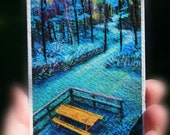 Picnic time,Tree House view, aceo original, 2.5x3.5 inches, miniature art, trails, trees, blue trees, nature, landscape