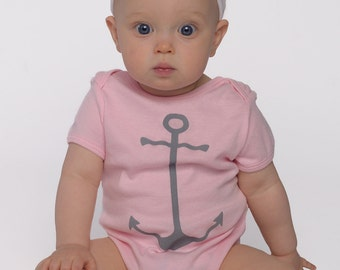 baby clothes. baby girl clothes. onesie. graphic onesie. baby girl. one piece baby. baby shower gift. anchor clothing. pink onesie