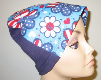 FREE SHIP USA Retro Patriotic Hat, Cancer, Alopecia, Sleep Cap,  Chemo Hat