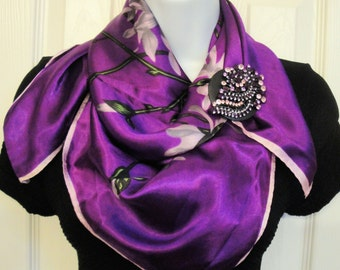 Magnetic Back Brooch Recycled large leaf style with purple rhinestones, New black disk and magnetic back, Bonus purple floral scarf