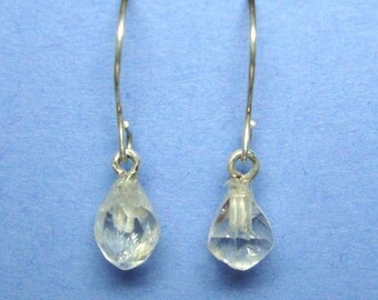 Quartz Crystal sterling silver french hook dangle earrings
