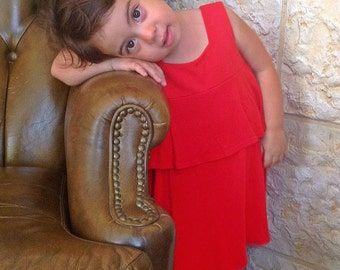 SALE - Tiered Red Bamboo Dress - Size 3T