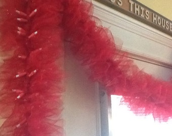 SWAG Garland - lighted - fine TULLE netting - red - full ruffles -  GORGEOUS - 9' electric or battery
