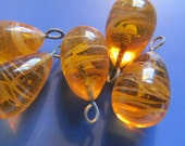 Vintage Glass Beads (2) Handmade Japanese Amber & Cream Swirl Drops Dangles Charms Beads