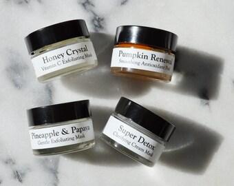 Travel Size Facial Masks, Sample Size, Charcoal Detox, Antioxidant, Papaya Enzyme Organic Face Mask