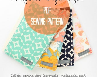 PDF SEWING Pattern, DIY Journal Cover, Easy Beginner Sewing Tutorial for Portfolio Organizer, Instant Download