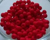 6/0 Seed Beads Opaque Matt Light Red, 4mm, Czech, Preciosa, 20 Grams. (270 - 300 beads/pack) *CLEARANCE*