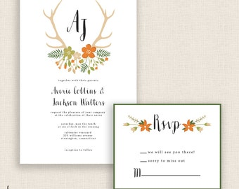 RUSTIC & FLORAL - DIY Printable Wedding Set - Invitation and Reply Card