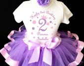 Princess crown light pink purple lavender polka dots 2nd Second Girl Birthday Tutu Outfit Custom Personalized Name Age Party Shirt Set