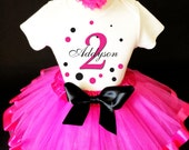Black Hot Pink Polka Dots Dotted Monogram 2nd Second Girl Birthday Tutu Outfit Custom Personalized Name Age Party Shirt Set