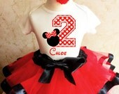 Minnie Mouse Red Black White Polka Dots Dotted 2nd Second Girl Birthday Tutu Outfit Custom Personalized Name Age Party Shirt Set