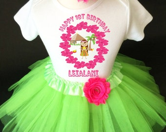 Luau Hawaiian Tropical Green Pink Flower 1st First Girl Birthday Tutu Outfit Custom Personalized Name Age Party Shirt Set