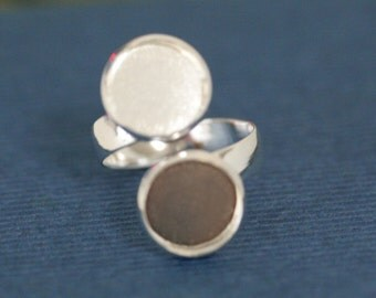5 pcs silvery finish adjustable ring blanks double base - for 12mm Cabochons R25B