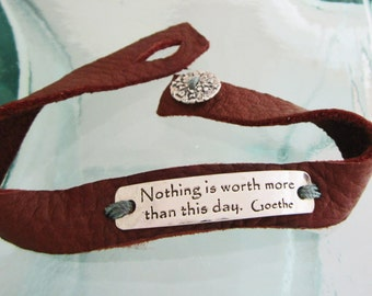 Handcrafted Silver and Leather Inspiration Bracelet, Nothing is Worth More with Queen Anne's Lace Button