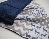 Meadow Deer Navy and Gray Chevron and Dots Minky Comforter Patchwork Blanket MADE TO ORDER