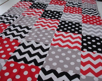 Chevrons and Dots in Red Black and Gray Minky Comforter Blanket MADE TO ORDER