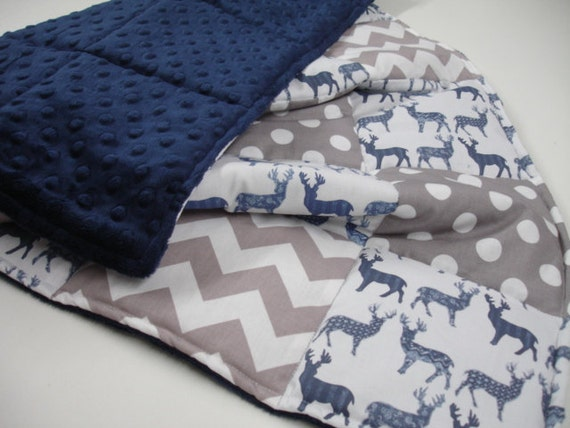 Meadow Deer Navy And Gray Chevron And Dots Minky Comforter