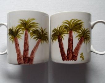 Coffee Cups Coffee Mugs Palm Tree Cups Hand Painted Palm Tree Mugs Set of 2